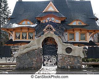 Traditional polish wooden hut from Zakopane