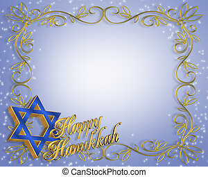 Hanukkah Card background - 3 Dimensional illustration...