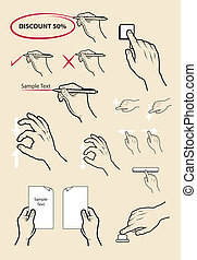 Hand signs, click, write, mail set - Hand drawing icons set....