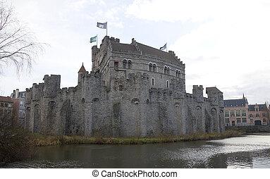 Gravensteen castle Ghent, Belgium - Gravensteen castle circa...