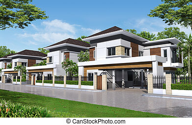 3d render of building  - tropical house in thailand