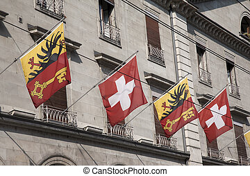 Swiss and Vaud Flags, Geneva, Switzerland, Europe