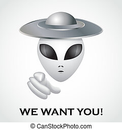 We want you, alien recruitment poster - illustration