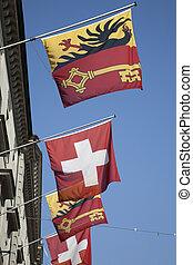 Swiss and Vaud Flags in Geneva, Switzerland