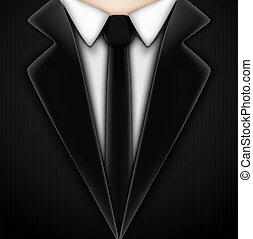 negro, esmoquin, corbata