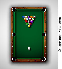 Billiard table - Isolated billiard table, top view Eps 10