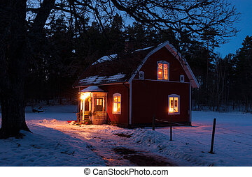 A Winter's Tale - Typical red painted Swedish wooden house...