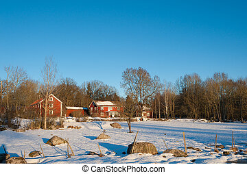 Typical red swedish wooden houses