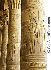 bas-relief on the column of philae temple in aswan, egypt