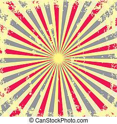 Retro background - vintage red and yellow poster with a...