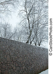 wall with trees - stone wall covered with snow in sub-zero...