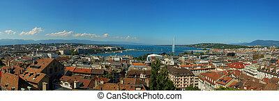 Geneva Panorama - Panoramic photograph of the city of Geneva...