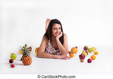 entre, colocar, frutas
