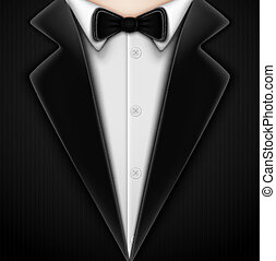 corbata, arco, esmoquin