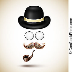 Vintage accessories hat, glasses, mustache and tobacco pipe...