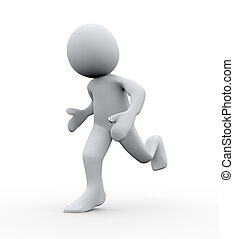 3d person running - 3d Illustration of running man. 3d...