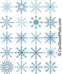 Blue snowflakes - Set of blue snowflakes, vector...