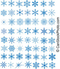 Set of snowflakes - Set of 56 blue snowflakes, vector...