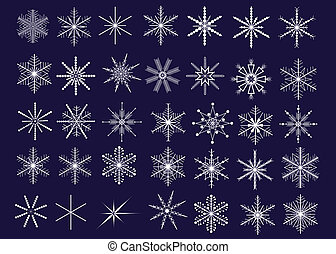Snowflakes - Collection of 35 decorative snowflakes. Vector...