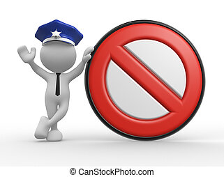 Policeman - 3d people - man, people with a stop sign...