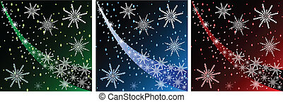 3 Christmas backgrounds - Vector Christmas background with...