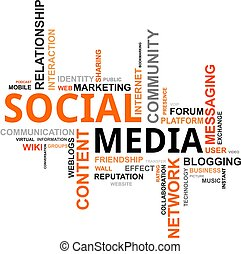palabra, nube, -, social, medios