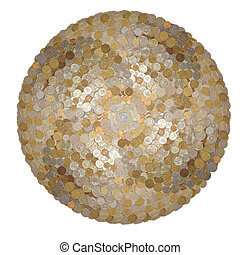 surround the ball of coins - many coins, euros, dollars,...