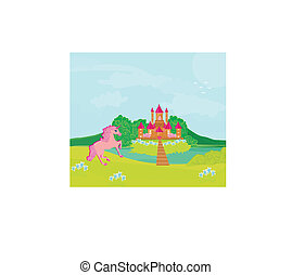 Fairytale landscape with  magic castle and pink unicorn