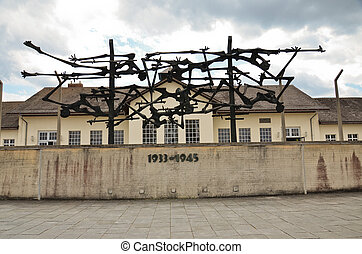 Dachau - Concentration camp at Dachau, the memorial to the...