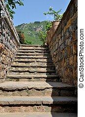 pedra, escadaria, PAQUISTÃO