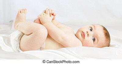 Baby boy in nappy