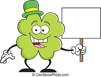 Cartoon shamrock holding a sign