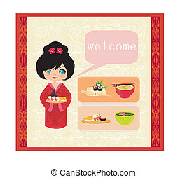 sweet girl enjoy sushi - foods set