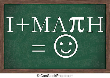 I Love Math Equation Chalkboard, A chalkboard with I love...