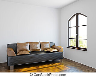 Livingroom with black sofa  near the windows