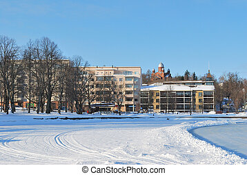 Lappeenranta, Finland. A view of the town with Lappeenranta...