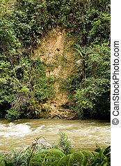 Landslide and erosion in jungle of Ecuador