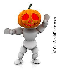 Pumpkin man - 3D render of pumpkin man