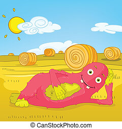 Funny Monster - Cartoon Character Funny Monster Yoga Vector...