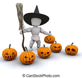 Halloween witch - 3D render of a witch with broomstick and...