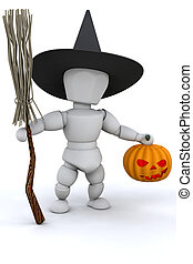Halloween witch - 3D render of a witch with pumpkin and...