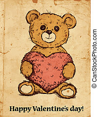 Teddy bear with heart - Hand drawn teddy bear with plush...