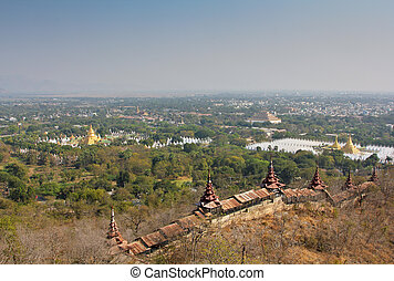 Mandalay city scenery - Bird eye view of Mandalay city from...