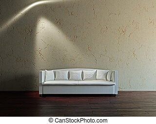 White sofa and  in the livingroom