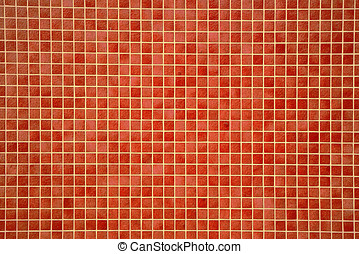 Colourful orangey-red mosaic tiles - Architectural...