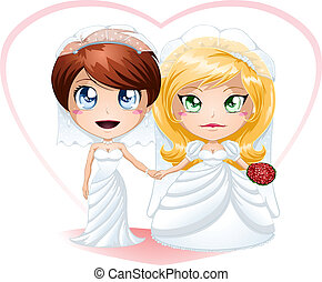 Lesbian Brides In Dresses Getting Married - A vector...