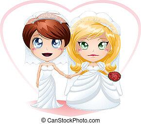 lesbiana, novias, en, vestidos, obteniendo, casado