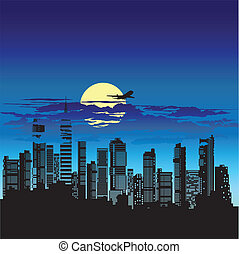 Silhouette of city on a background nightly sky