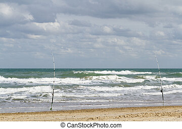 Fishing on the beach of South Padre Island, TX