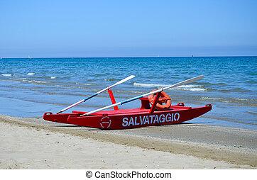 Rimini rescue boat - Rimini, view of the beach and the...